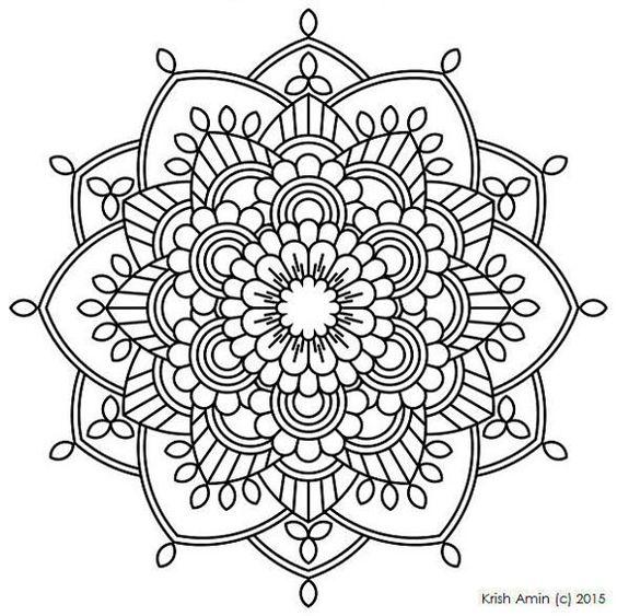 Adulto de Mandala para colorear página 35 por KrishandBoShop