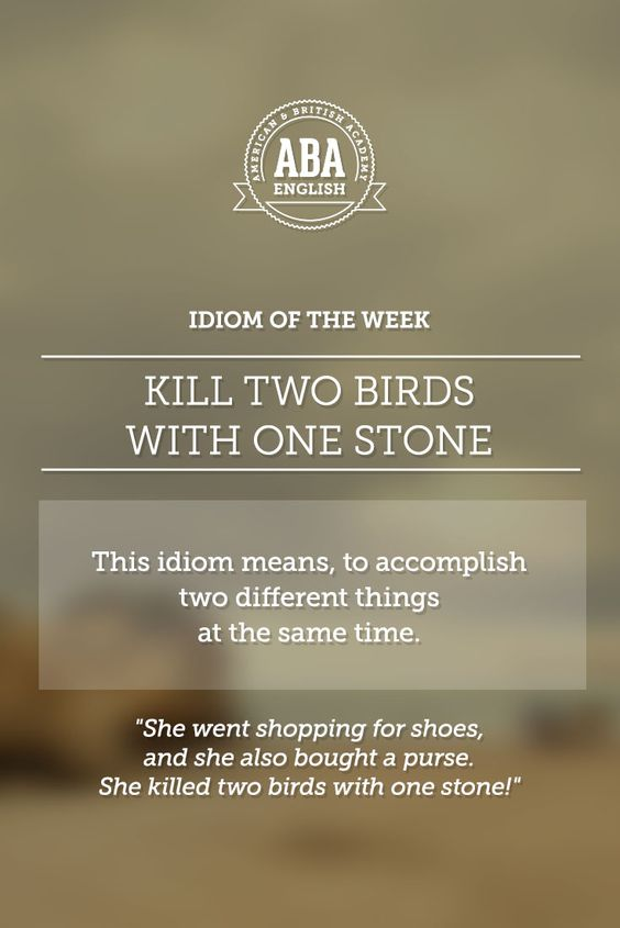 """English #idiom """"Kill two birds with one stone"""" means, to accomplish two different things at the same time. #speakenglish"""