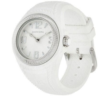 Judith Ripka Stainless Steel Silicone Montauk Watch