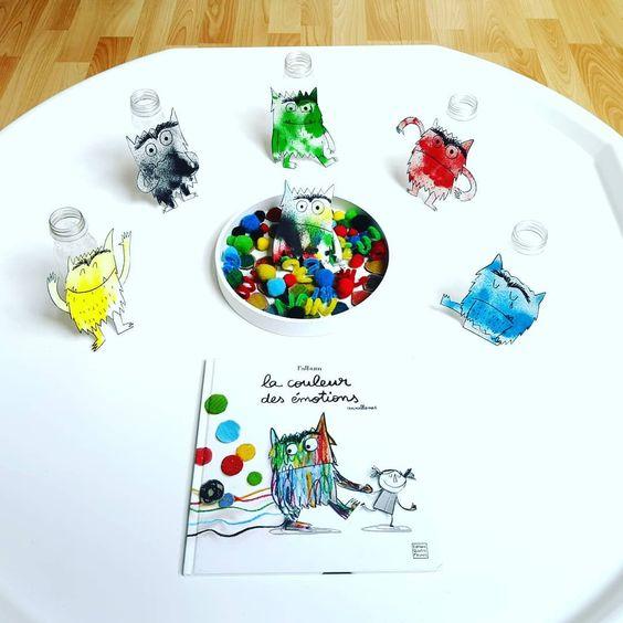 xploitation de l'album La couleur des émotions de @annallenas (Éditions Quatre Fleuves)  Après avoir colorier leurs montres des émotions
