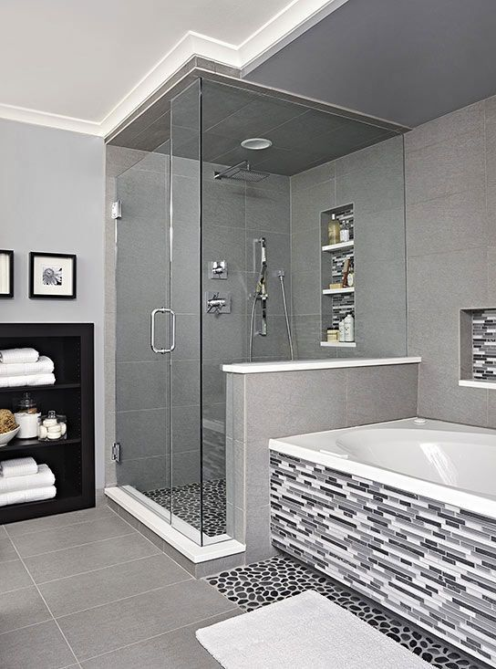 Light Grey Tiles Bathroom Colour Scheme With Shower Space With