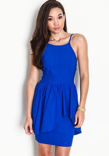 High Neck Waterfall Peplum Dress, ROYAL BLUE, large | Dresses 2014 ...