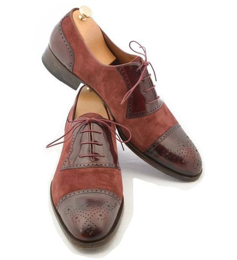Handmade Men Formal Two Tone Shoes Men Burgundy Color Leather Dress Shoes Dress Shoes Men Leather Dress Shoes Fashion Dress Shoes