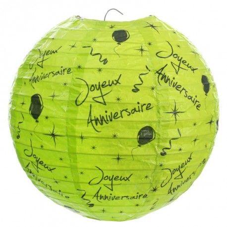 Lanterne boule papier joyeux anniversaire vert 20 cm les 2