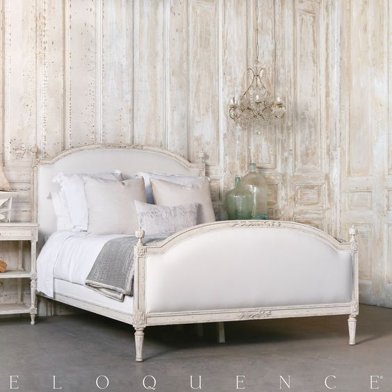 Eloquence Dauphine King Bed in Weathered White. Romantic European Farmhouse Bedroom Decor Ideas!