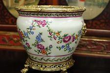 Large Ormolu Porcelain Pot Solid Brass Accents Gold Gilt