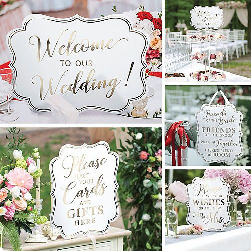 White Gold Wedding Scroll Signs 5ct Party City Wedding Scroll Wedding Chalkboard Signs Wedding With Kids