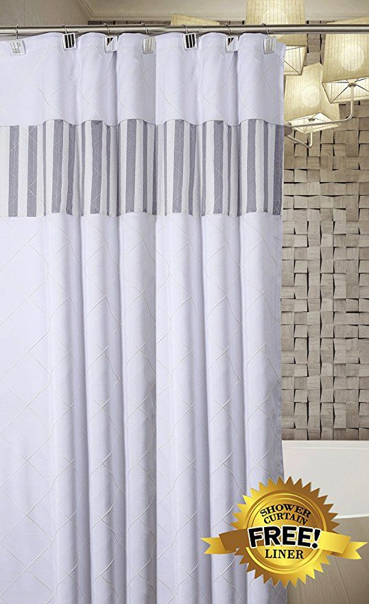 Quilted Mirror Decorative Fabric Shower Curtain White Includes
