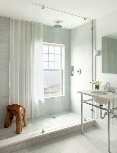 Pictures Of Walk In Showers With Shower Curtains.Window In Shower Shower Curtain For Privacy And To Protect