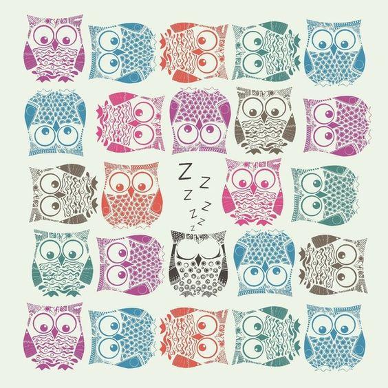 light sherbet owls by Sharon Turner