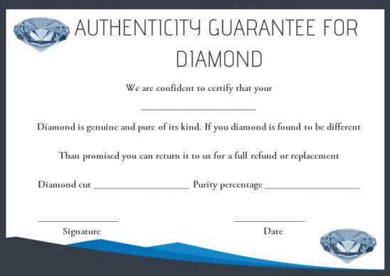 Diamond Certificate Of Authenticity Template Certificate Template Certificate Templates Template Ideas