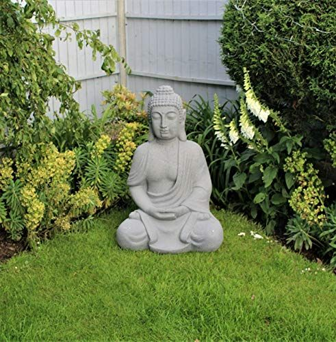 Hh Home Hut Decoration De Jardin Grand Bouddha Assis En Plein Air