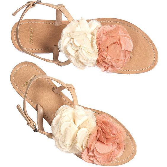 Foxglove Double Flower Sandals ($30) ❤ liked on Polyvore
