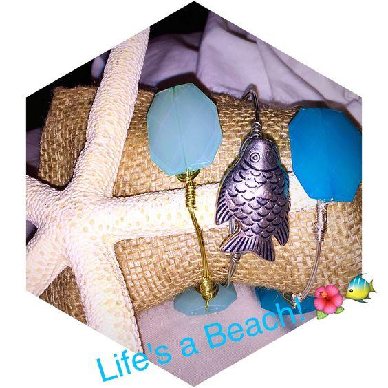 Life's a Beach Bangle Set by BanglesandBurlapFL on Etsy https://www.etsy.com/listing/243493568/lifes-a-beach-bangle-set