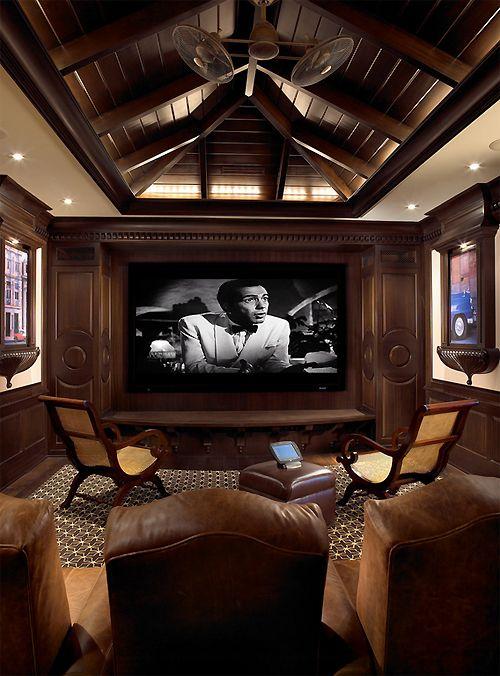 Man Cave Missoula : Masculine interior home theatre ️