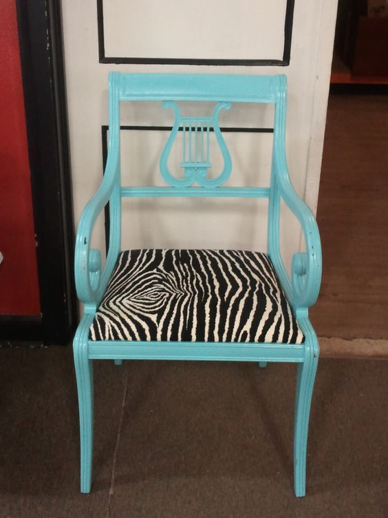 Best Antique Accent Chair Redo Teal Chair With Zebra Seat By 400 x 300