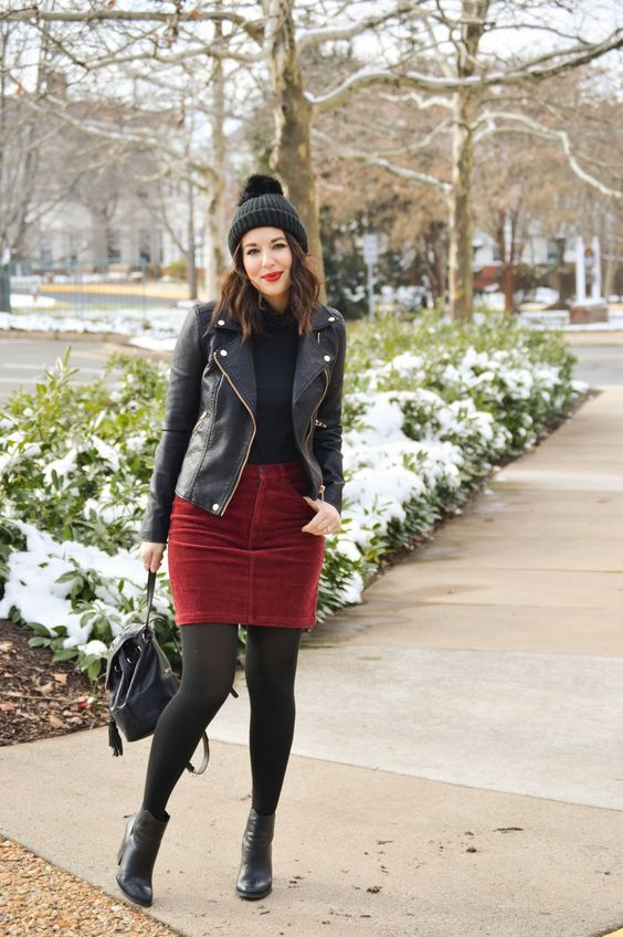 An Edgier Christmas Look on Rosy Outlook! www.rosyoutlookblog.com moto jacket, cord skirt, corduroy, berry, blanknyc, nordstrom, backpack, rebecca minkoff, winter, holiday, outfit, style, fashion