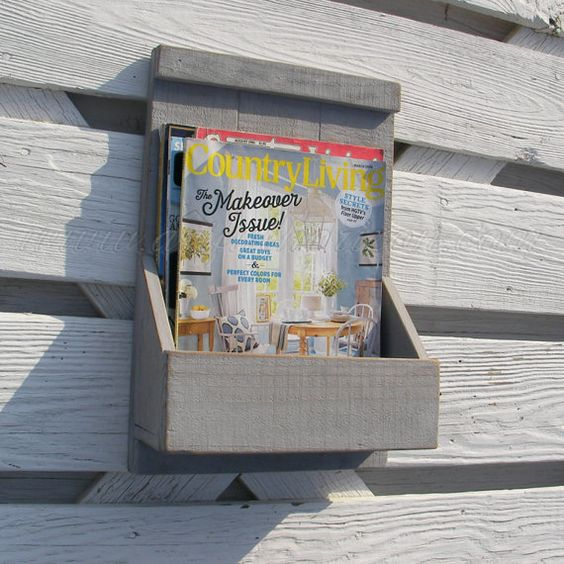 Primitive Folk Art Gray Magazine Rack Wall Box by ArtfulHorizon