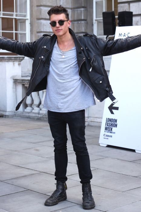 Pandas at Their Best! Leather jacket boots shirt fashion men ...
