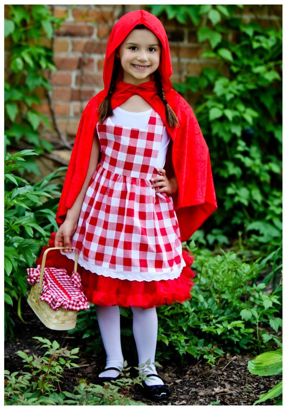 This Kids Red Riding Hood Tutu Costume is an exclusive Little Red Riding Hood costume for girls you won't find anywhere else. Goes well with a group costume.: