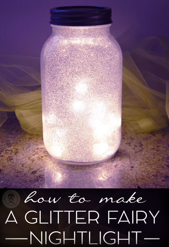 Make a glittery Fairy Nightlight using a mason jar! Video shows you how!