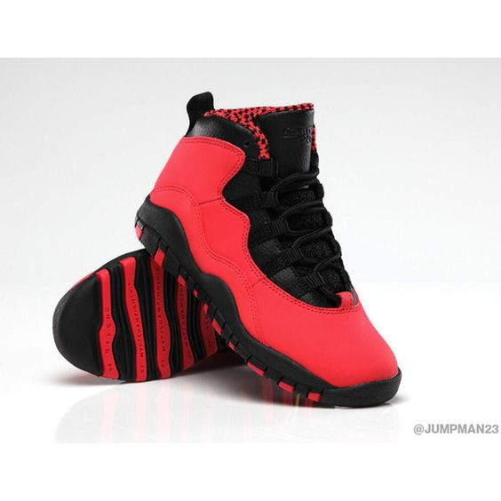 Heads Up Air Jordan 10 FUSION RED Releases 10/19 ❤ liked on Polyvore featuring shoes and jordans