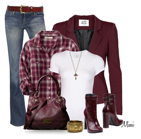 """""""Blazer, Plaid & Boots"""" by stylesbymimi ❤ liked on Polyvore featuring Vero Moda, INDIE HAIR, Old Navy, Majestic Filatures, Fabi, 1928, Marc by Marc Jacobs, Ariat, women's clothing and women"""