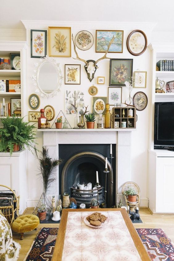 20 Maximalist Interior Design Ideas - How Maximalism Is Replacing Minimalism In Home Décor good clutter on a fireplace mantel