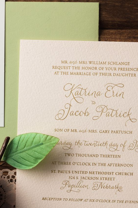 TRADITIONAL Wedding Invites | Blush, Gold, Green, Foil Invite l www.meldeen.com