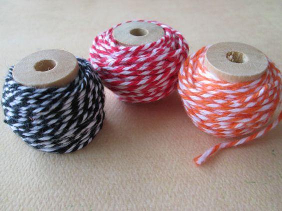 Three 3 Spools of Twine  Black Orange Red with by HazalsBazaar, $7.45