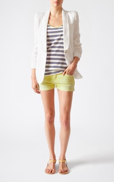 : Linen Blazer, Striped Tank, Summer Outfit, White Blazer, Bright Shorts, Cute Outfits