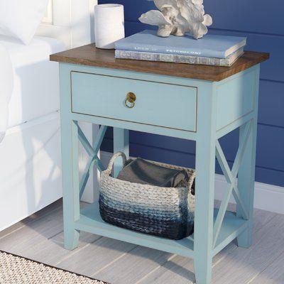 Beachcrest Home Landau 1 Drawer Nightstand Color Aqua In 2020 Beach House Decor Home Furniture Furniture