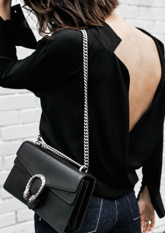 Gucci Dionysus Black Chain Bag Rachel Comey Wide Leg Jeans Street Style Inspo Minimal Fashion