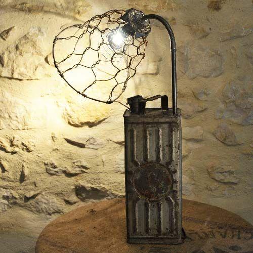 Lampe jerrican abat jour fil de fer 69 90 euros en vente sur - Lampe articulee industrielle ...