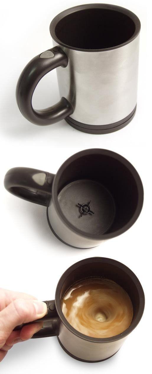 Coffee mug with built in stirring propeller?