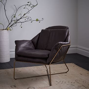 Origami Leather Lounge Chair #westelm