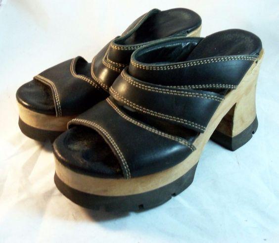 London Underground Shoes ~ Black Wooden Platform Sandals Sz 7  M #LondonUnderground #PlatformsWedges
