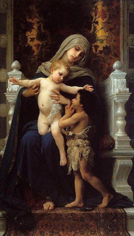 William Bouguereau, La Vierge, l'Enfant Jésus et Saint Jean-Baptiste (1875).