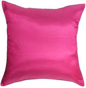 Silk Couch Bed Decorative Accent Pillow Cover : Solid Fuchsia Pink