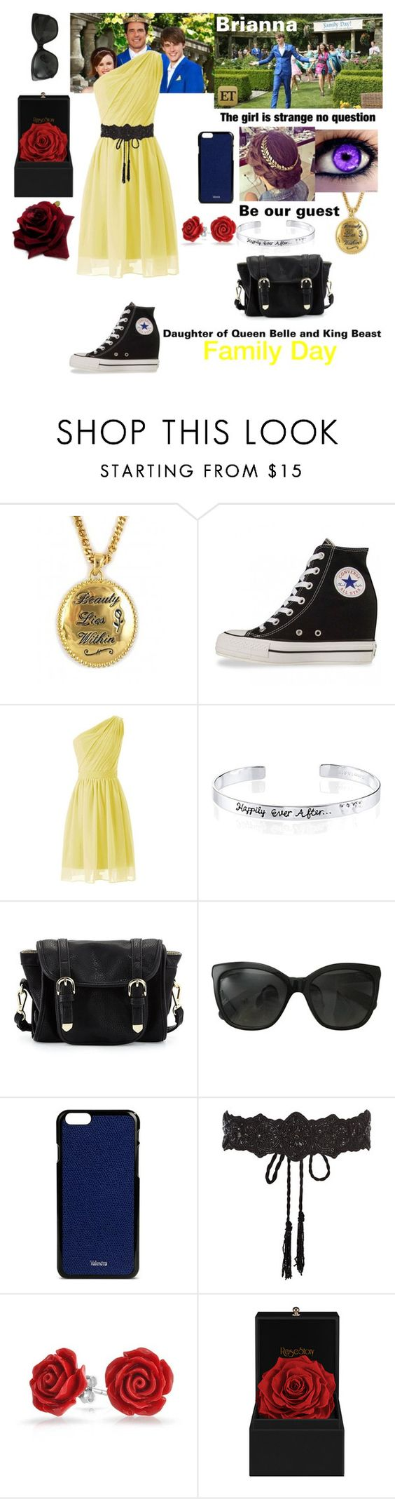 """""""Family Day-True Descendants"""" by kittywes ❤ liked on Polyvore featuring Disney Couture, Disney, Converse, Poverty Flats, Chanel, Valextra, Accessorize and Bling Jewelry"""