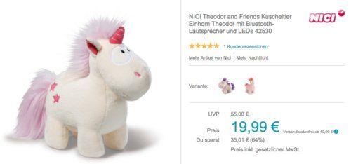 Nici 42530 Theodor And Friends Kuscheltier Einhorn Theodor Mit Bluetooth Lautsprecher Und Leds Kuscheltier Kuscheln Bluetooth Lautsprecher