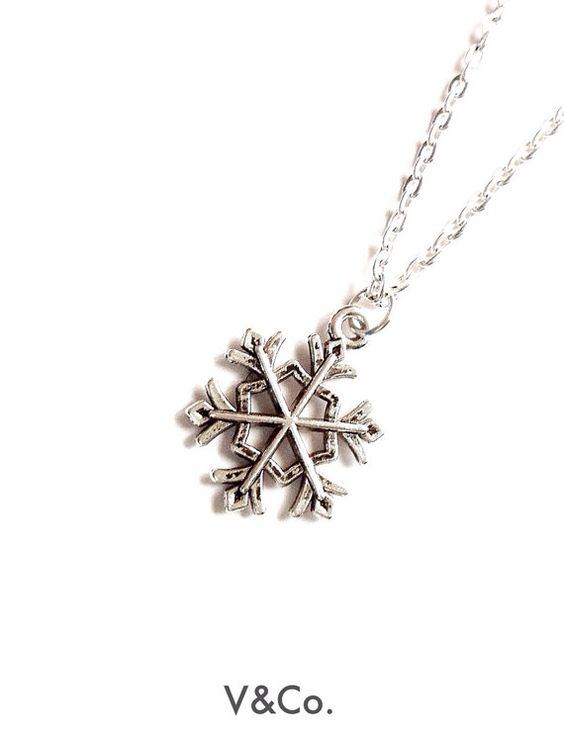 Snowflake Necklace Winter Jewelry Christmas Gift by VelazioAndCo