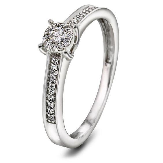 Ring i gull med diamant 0,19 ct WSI