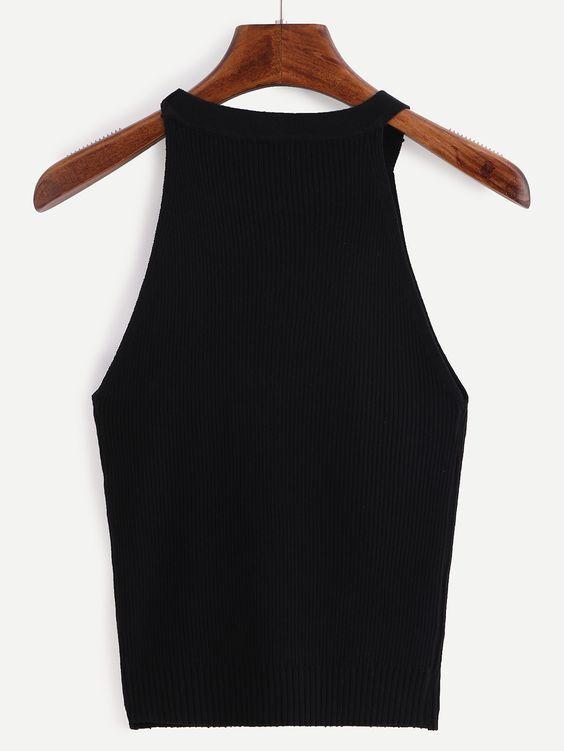 Halter Neck Ribbed Knit Top - Black