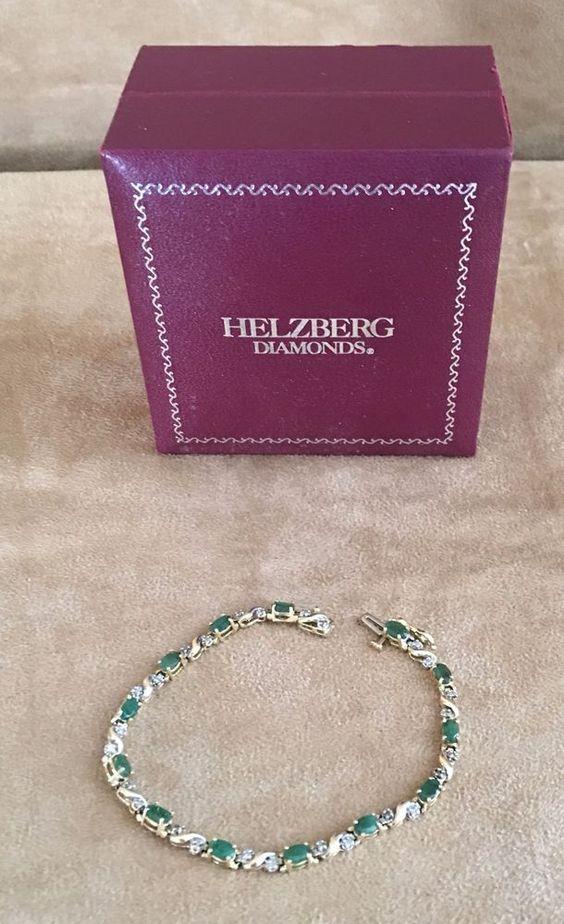 "7"" 14K Gold Diamond & Emerald Tennis bracelet flexible gemstone womens jewelry #Unbranded #Tennis"