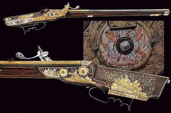 An outstanding wheel-lock rifle, Germany 16th century.