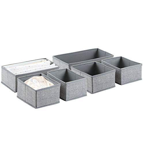 Mdesign Boite De Rangement Lot De 6 6 Corbeilles De Rangement De 2 Dimensions Differentes Box De Rangem Boite De Rangement Box De Rangement Commode Tiroirs