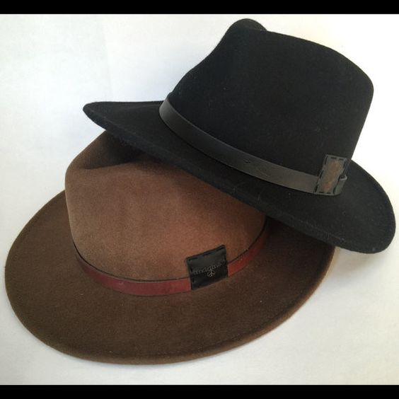 Women or teen wide brim floppy felt fedora hat with custom leather patch in your choice of black or pecan