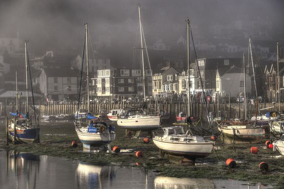 Foggy morning in Looe, Cornwall.
