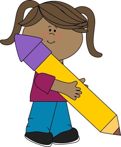Cute girl clip art girl holding a big yellow pencil clip art girl